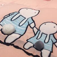 家纺水洗棉四件套 全棉 超柔 纯棉女孩1.8m儿童1.2米床三件套床上用品 萌萌兔