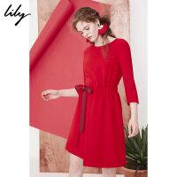 Lily2018春新款女装不规则圆领连衣裙系带收腰连衣裙118100C7615