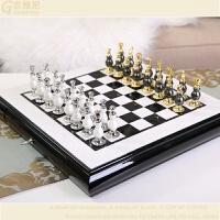 大号棋盘国际象棋套装创意西洋棋摆件欧式美式特色高档商务礼品 深卡其布色