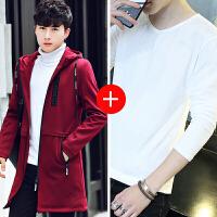 秋冬季外套新款韩版潮帅气加绒加厚夹克男风衣中长款冬装大衣