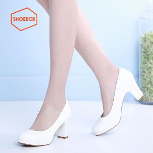 达芙妮旗下SHOEBOX/鞋柜春女单鞋浅口圆头粗高跟套脚简约女单鞋
