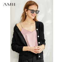 Amii时尚性感外穿吊带背心女春新款V领露肩纯色内搭打底上衣