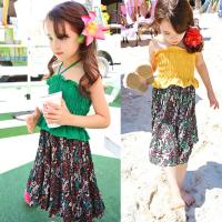 女童吊带连衣裙夏季新款2018童装度假沙滩裙中大童碎花公主裙长裙