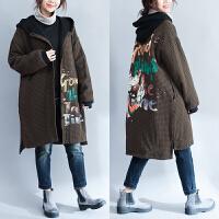 大码女装200斤胖mm保暖羊羔毛外套女冬季中长款加绒加厚连帽棉衣