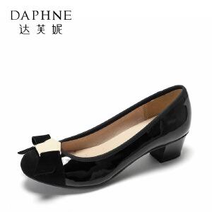 Daphne/达芙妮粗跟通勤鞋 百搭圆头拼接蝴蝶结单鞋