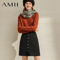 【到手价:102元】Amii极简气质通勤百搭短款半身裙2019冬新款纯色宽松钮扣女裙