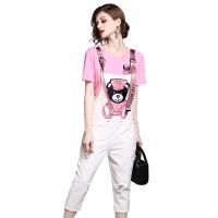 2018夏季时尚休闲套装印花短袖T恤牛仔背带七分裤两件套女 白+粉