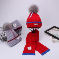 女童秋冬季帽子围巾套装男宝宝针织加绒毛线帽儿童保暖围脖两件套