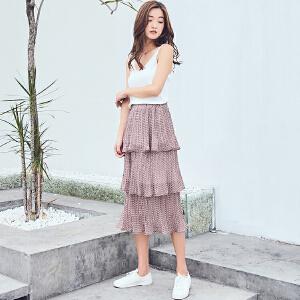 RANJU 然聚2018女装夏季新品新款小碎花压摺多层次蛋糕半身裙长裙