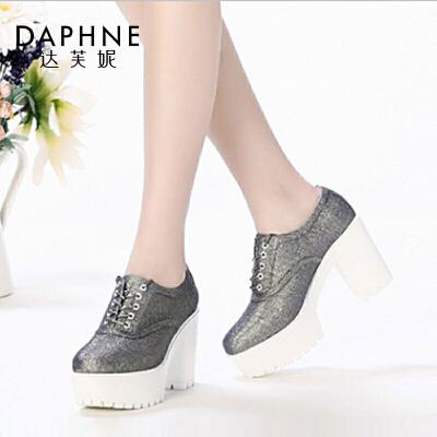 Daphne/达芙妮圆头厚底粗高跟休闲防水台女单鞋