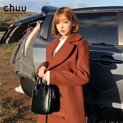 chuu毛呢大衣女2019秋冬新款韩版宽松加厚中长款气质黑色呢子外套