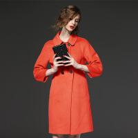 秋冬新款女装羊 毛呢大衣欧美纯色娃娃领修身大衣外套