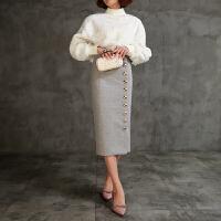 一排扣半身裙羊毛呢子裙高腰包臀铅笔裙中长款迷笛裙韩国秋冬新款