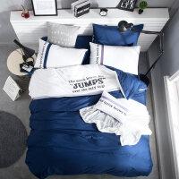 家纺简约纯棉床上用品四件套全棉单人三件套1.5m1.8m纯色床单被子被套