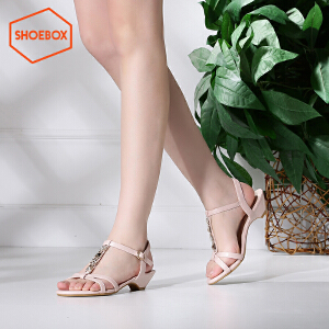 达芙妮集团 鞋柜夏季新款简约纯色休闲凉鞋女校园风学生韩版低跟女鞋