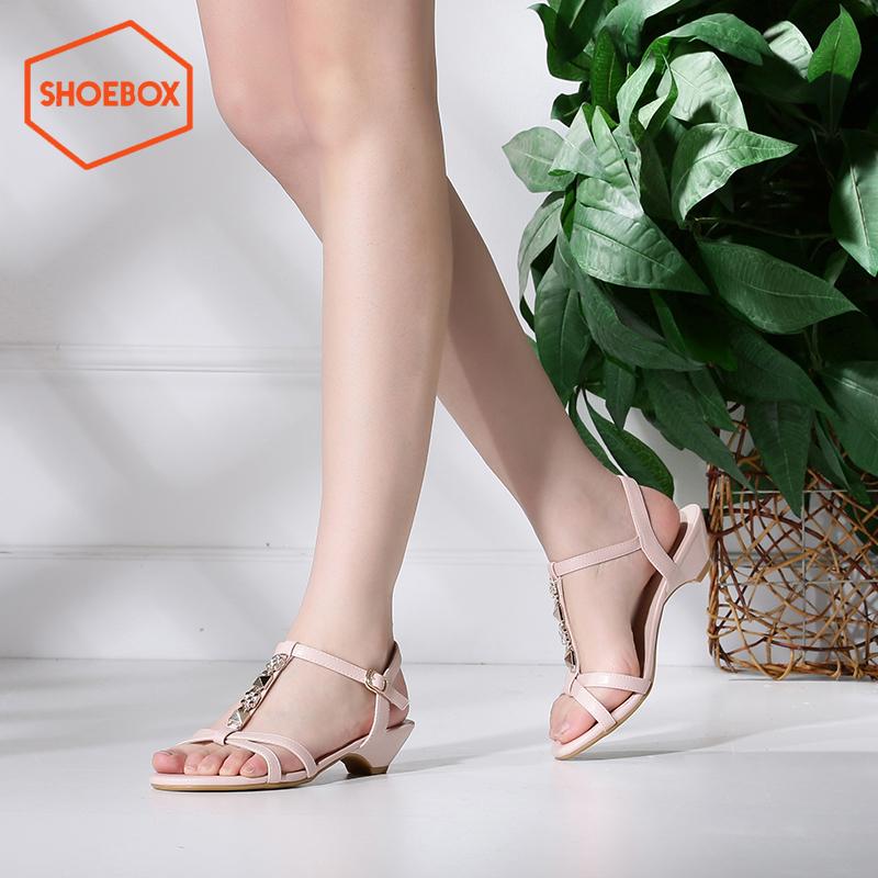 达芙妮旗下shoebox鞋柜夏季新款简约纯色休闲凉鞋女校园风学生韩版低跟女鞋