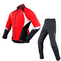 冬季骑行服套装男女复合抓绒长袖长裤 极光冰河