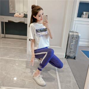 欧洲站2018夏季新款韩版休闲运动套装女短袖印花T恤+束脚裤两件套