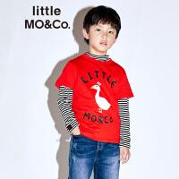 【折后价:80.7】littlemoco夏季新品儿童T恤字母动物印花圆领短袖全棉T恤
