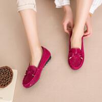 女鞋2018春季新款红色韩版豆豆鞋平底孕妇妈妈鞋软底舒适套脚单鞋