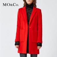MOCO纯色毛呢外套女呢子大衣中长款秋冬外套女MA1641COT23摩安珂
