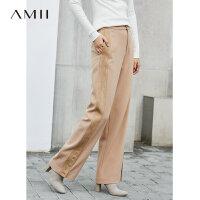 【到手价:207元】Amii极简chic复古原宿风ol休闲裤女士2018冬宽松显瘦高腰直筒长裤