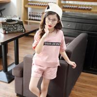 儿童两件套小女孩休闲运动服 女童夏装套装2017新款短袖中大童套装 粉 色