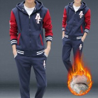 卫衣套装男秋冬季青少年韩版潮流宽松休闲学生加绒连帽运动两件套