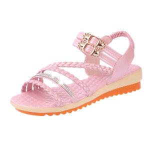 ELEISE美国艾蕾莎新品060-K05-1韩版超纤皮坡跟女士凉鞋