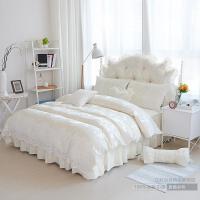 家�床上四件套被套�棉1.8m公主�L白色全棉床裙式蕾�z花��Y婚�c床品 米白色 蝶舞-米色