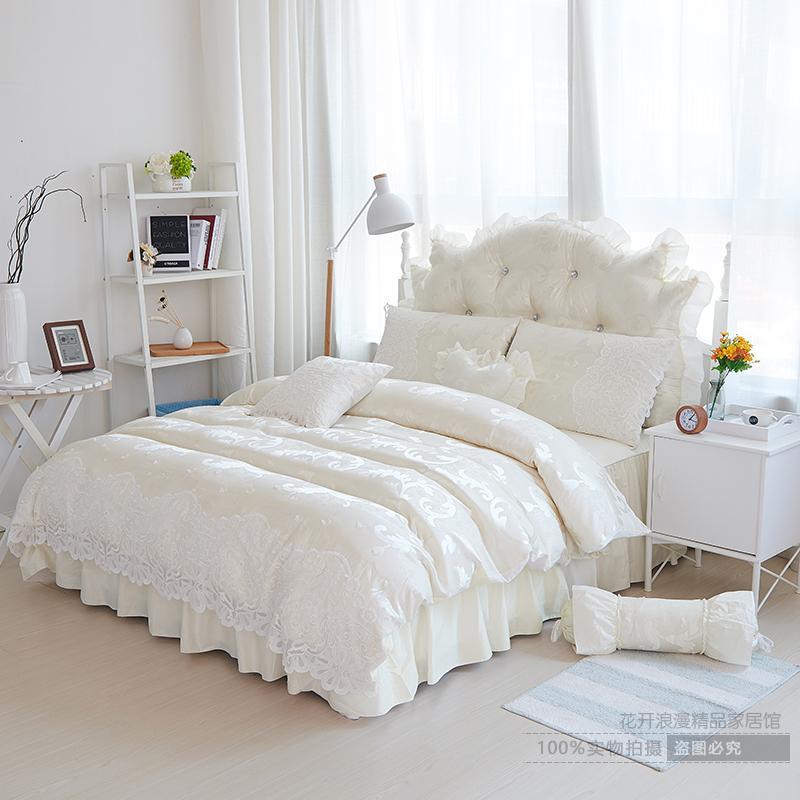 家纺床上四件套被套纯棉1.8m公主风白色全棉床裙式蕾丝花边结婚庆床品 米白色 蝶舞-米色