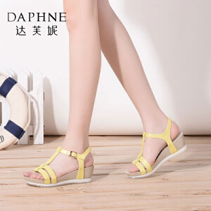 Daphne达芙妮夏季 休闲纯色坡跟丁字扣凉鞋