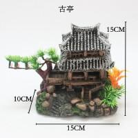 鱼缸造景装饰品小房子古凉亭树脂摆件水族箱仿真水草别墅屋