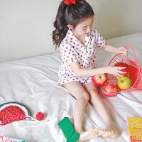夏季纯棉儿童睡衣女童可爱殷桃全棉短袖家居服韩系女宝宝可爱套装