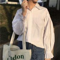镂空灯笼袖白衬衫女宽松长袖上衣