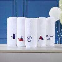 5条装儿童小毛巾卡通洗脸绣花纯棉方巾吸水柔软白 白色5条装