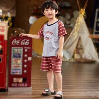 儿童睡衣短袖夏季薄款男童中大童夏天家居服空调服套装