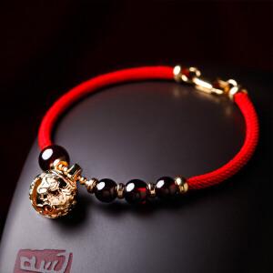 凤凰涅磐红绳手链女本命年礼物天然水晶石榴石鸡年手工编织绳饰品