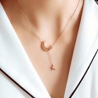 钛钢玫瑰金时尚星星月亮短款项链锁骨链女保色饰品 玫瑰金色