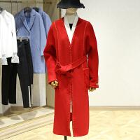 双面呢大衣女冬装新款 韩版V领落肩中长款过膝腰带毛呢外套