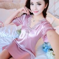 性感夏季冰丝绸薄款睡裙韩版甜美可爱少女蕾丝短袖睡衣家居服大码