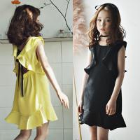 母女装夏季女童连衣裙韩版亲子装纯棉短袖中大童荷叶边露背度假裙