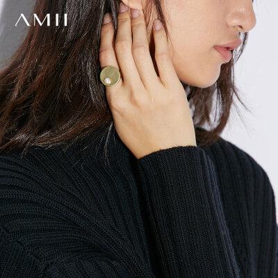 【折后价:69元再叠400-50元券】Amii[极简主义]精致珍珠+电镀哑金戒指女新款首饰戒指 柔和黄铜电镀 极简元素 开口戒指