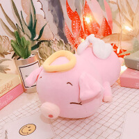 创意可爱天使猪抱枕小猪猪公仔布娃娃玩偶毛绒玩具趴趴猪礼物女生 粉红色 粉色