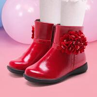 斯纳菲童鞋 女童靴子2016秋冬季短靴童靴公主儿童鞋真皮冬鞋皮靴