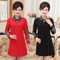 中年女装春季新品修身连衣裙中长款本命年红色大码妈妈装打底裙子