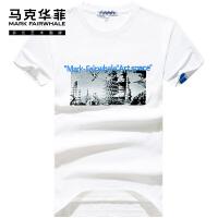 马克华菲男士短袖T恤2021夏季新款潮牌潮流白色印花纯棉休闲潮ins