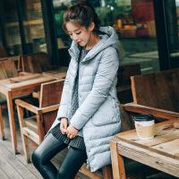 冬装新款女装韩版中长款棉衣棉袄连帽长袖时尚潮外套 A6073蓝灰色