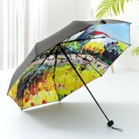 伞油画伞防晒防紫外线太阳伞女雨伞折叠遮阳伞黑胶晴雨两用伞