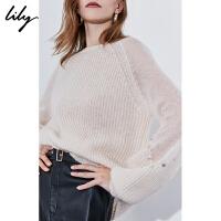 Lily2019冬新款女装温柔马海毛灯笼袖钉珠片宽松套头毛针织衫8E04
